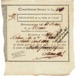 Haut-Rhin - Colmar - 1er empire - 1810 - Obligation de 1000 francs - Etat : SUP+