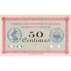 Belfort - Pirot 23-20 - 50 centimes - Série 116 - 06/01/1916 - Spécimen - Etat : NEUF