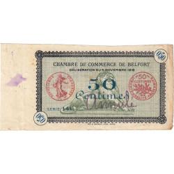 Belfort - Pirot 23 non répertorié - 50 centimes - Annulé - 1918 - Etat : TTB