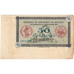 Belfort - Pirot non répertorié - 50 centimes - Série 141 - 04/11/1918 - Annulé - Etat : TTB