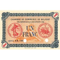 Belfort - Pirot 23-47 - 1 franc - Série AX 148 - 04/11/1918 - Spécimen - Etat : NEUF