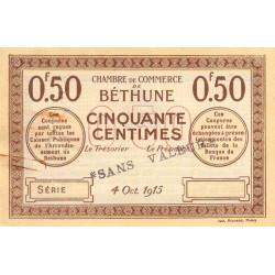 Béthune - Pirot 26-3 - 50 centimes - 04/10/1915 - Spécimen - Etat : TTB+