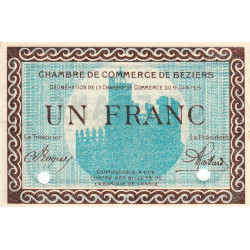 Béziers - Pirot 27-14 - 1 franc - Spécimen - 1915 - Etat : SUP+