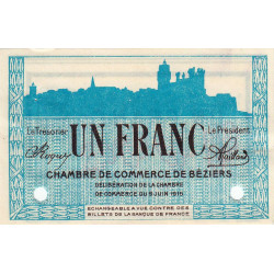 Béziers - Pirot 27-16 - 1 franc - Spécimen - Etat : SUP+