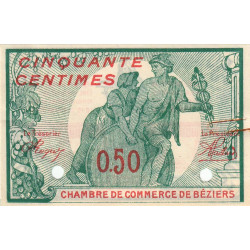 Béziers - Pirot 27-21 - 50 centimes - Spécimen - 1916 - Etat : SUP-