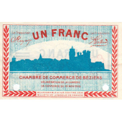 Béziers - Pirot 27-24 - 1 franc - 19/11/1918 - Spécimen - Etat : SUP+