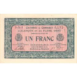 Alençon / Flers (Orne) - Pirot 6-34 - 1 franc - Série 3Z1 - 10/08/1915 - Etat : TTB