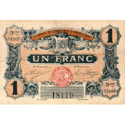 Angoulême - Pirot 9-36 - 1 franc - 5ème série - 11/04/1917 - Etat : B+