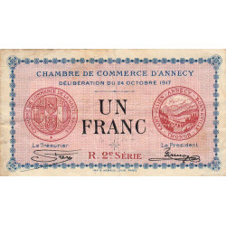 Annecy - Pirot 10-12 - 1 franc - 1917 - Etat : TB