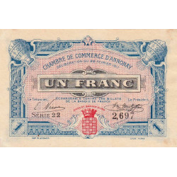 Annonay - Pirot 11-12 - 1 franc - 1917 - Etat : SUP
