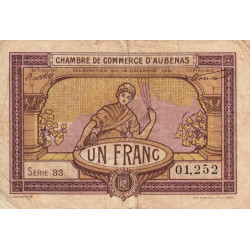Aubenas - Pirot 14-2 - 1 franc - Série 33 - 19/12/1921 - Etat : B+ à TB-