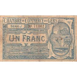 Auch (Gers) - Pirot 15-10a - Série J - 1 franc - 1916 - Etat : B