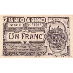 Auch (Gers) - Pirot 15-14 - 1 franc - Série K - 17/01/1918 - Etat : TTB+