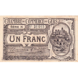 Auch (Gers) - Pirot 15-14a - Série K - 1 franc - 1918 - Etat : TTB+