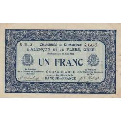 Alençon / Flers (Orne) - Pirot 6-48 - 1 franc - Série 5H2 - 10/08/1915 - Etat : TTB
