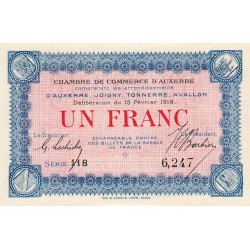 Auxerre - Pirot 17-8 - 1 franc - Série 118 - 15/02/1916 - Etat : NEUF