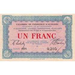 Auxerre - Pirot 17-1 - 1 franc - Série 101 - 19/12/1915 - Etat : SPL