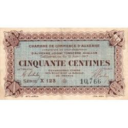 Auxerre - Pirot 17-14 - 50 centimes- Série X 123s - 12/04/1917 - Etat : TB à TB+