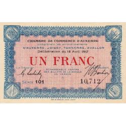 Auxerre - Pirot 17-17 - 1 franc - Série 101 - 12/04/1917 - Etat : SUP+