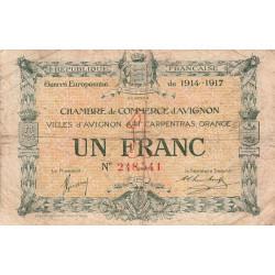 Avignon - Pirot 18-17 - 1 franc - 11/08/1915 - Etat : B