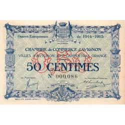 Avignon - Pirot 18-1 variété - 50 centimes - 11/08/1915 - Petit numéro - Etat : SPL