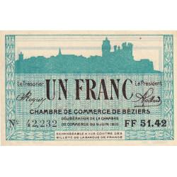Béziers - Pirot 27-17 - 1 franc - Série FF 51.42 - 09/06/1915 - Etat : SUP+