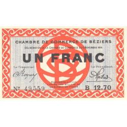 Béziers - Pirot 27-8 - 1 franc - 1914 - Etat : SPL+