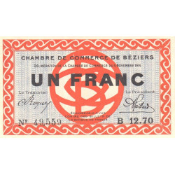 Béziers - Pirot 27-8 - 1 franc - Série B 12.70 - 05/11/1914 - Etat : SPL+
