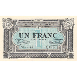 Blois (Loir-et-Cher) - Pirot 28-11 - 1 franc - 02/07/1918 - Etat : SUP+