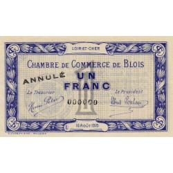 Blois (Loir-et-Cher) - Pirot 28-4 - 1 franc - 16/08/1915 - Annulé - Etat : SUP+