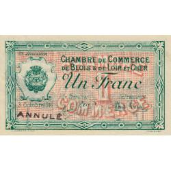 Blois (Loir-et-Cher) - Pirot 28-8 - 1 franc - Annulé - 1916 - Etat : SUP+
