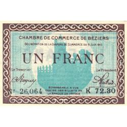 Béziers - Pirot 27-10 - 1 franc - Série K 72.30 - 09/06/1915 - Etat : SUP+