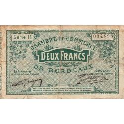 Bordeaux - Pirot 30-3 - 2 francs- Série H - 1914 - Etat : B