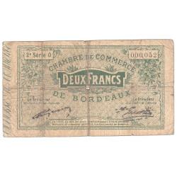 Bordeaux - Pirot 30-9 - 2 francs- Série O - 1914 - Etat : B-
