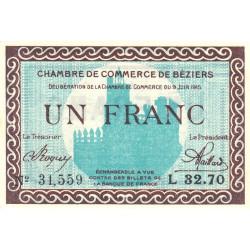 Béziers - Pirot 27-13 - 1 franc - Série L 32.70 - 09/06/1915 - Etat : SPL+