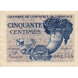 Bordeaux - Pirot 30-28 - 50 centimes - Série 72 - 1921 - Etat : TB+