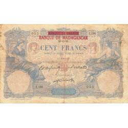 Madagascar - Pick 34 - 100 francs - 1892 (1926) - Etat : B