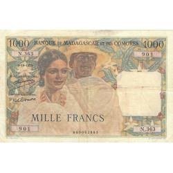 Madagascar - Pick 48a - 1'000 francs - 09/10/1952 - Etat : B