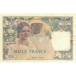 Madagascar - Pick 48a - 1'000 francs - 09/10/1952 - Etat : TB+