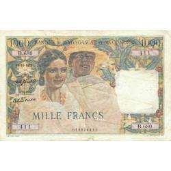 Madagascar - Pick 48b - 1'000 francs - 15/10/1953 - Etat : B+