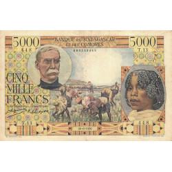 Madagascar - Pick 49a - 5'000 francs - 1950 - Etat : TB+
