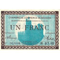 Béziers - Pirot 27-13 - 1 franc - Série R 27.12 - 09/06/1915 - Etat : TTB