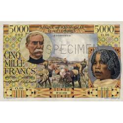 Madagascar - Pick 49bs - 5'000 francs - 1955 - Spécimen - Etat : SPL