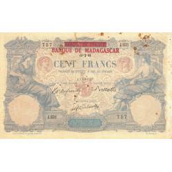 Madagascar - Pick 34 - 100 francs - 1893 (1926) - Etat : B+