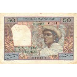 Madagascar - Pick 45a - 50 francs - 1950 - Etat : TB