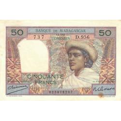 Madagascar - Pick 45a - 50 francs - 1950 - Etat : TTB
