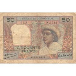 Madagascar - Pick 45a - 50 francs - 1950 - Etat : B