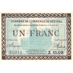 Béziers - Pirot 27-13 - 1 franc - Série Z 11.08 - 09/06/1915 - Etat : SPL