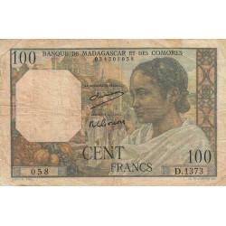 Madagascar - Pick 46a - 100 francs - 1950 - Etat : B
