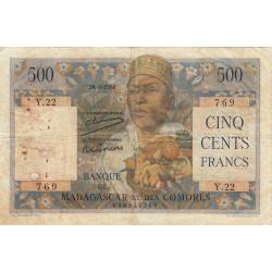 Madagascar - Pick 47a - 500 francs - 1950 - Etat : B